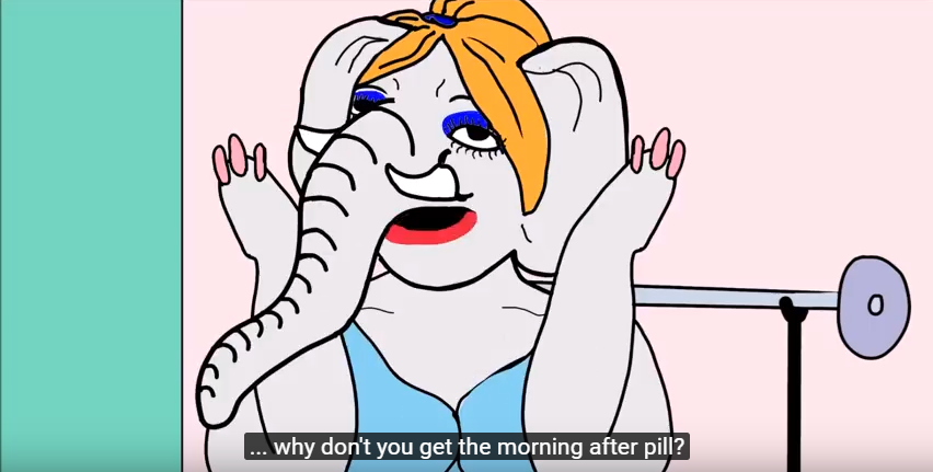 "Still of animated elephant at the gym. Subtitle reads ""why don't you get the morning after pill?"""
