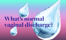 Droplets with text 'what's normal vaginal discharge